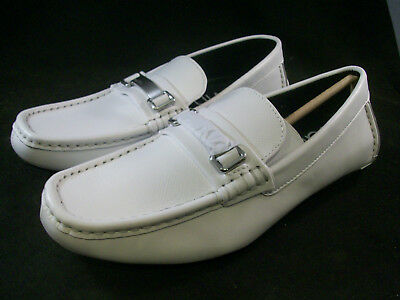 5d2e5385e48 New Calvin Klein Men s Maddix Bit Loafers White Leather 8 Medium  130 ...