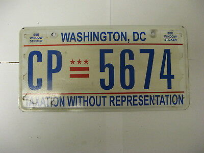 Washington DC Taxation Without Representation License Plate CP 5674