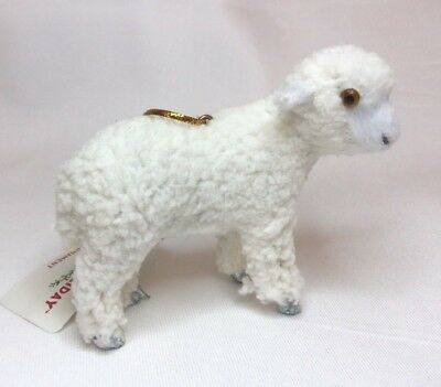 "Maker's Holiday Faux Fur LAMB / SHEEP Ornament NEW Fuzzy Coated 3"" Tall NWT"
