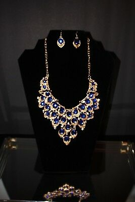 Lady Blue Crystal Necklace Earring Teardrop Rhinestone Jewelry Set