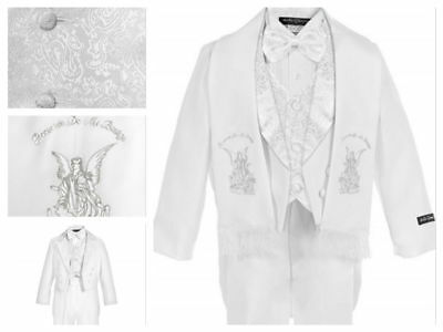 Baby Boy Christening Baptism/scarf Suit/6 pcs/ Size S to 4T Silver Angel Embroid