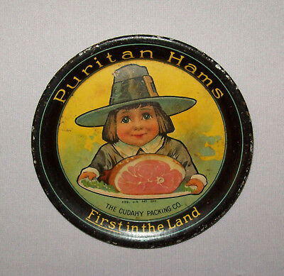 Antique Ca 1920s Puritan Hams Young Pilgrim Boy Graphics Lithographed Tip Tray