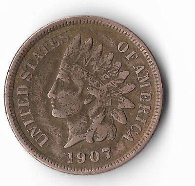 Rare Very Old Antique Collectible US 1907 Indian Head Penny USA Collection Coin