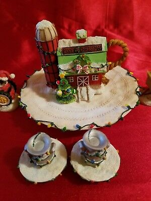 Minature Tea Set Featuring Christmas Mary's Moo Moos Abbey 2001 Enesco #878567