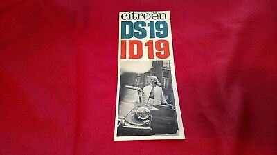 Vintage Original 1966 Dealer Brochure Citroen DS19 ID19 Tri-Fold