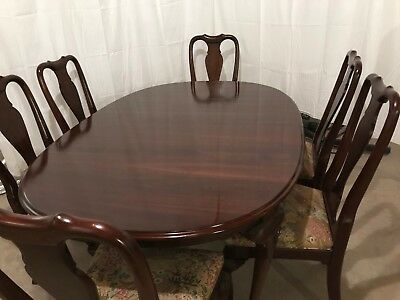 Used Ethan Allen Georgian Court cherry dining room table, chairs and buffet