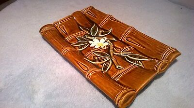 Vintage 70's retro Japanese Bamboo style serving plate in Brown glaze, flowers