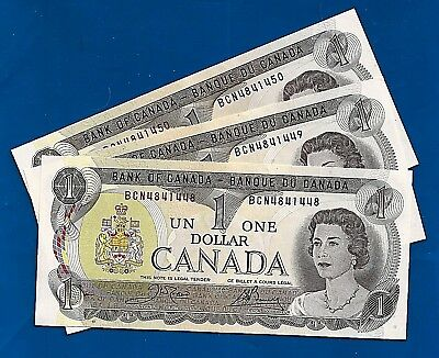 3 CANADA 1973 CONSECUTIVE prefix BCN ONE DOLLAR NOTES BILLS CRISP UNC