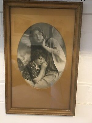 Vintage Lady And Child Photo In Frame- 1940/50's Era
