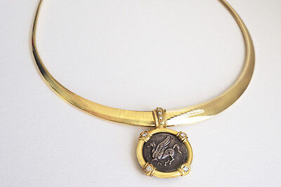 Greek Flying Horse & Athena Coin Gold Necklace
