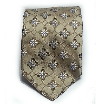 "Faconnable Men Dress Silk Tie Made in Italy 3.75"" wide 57"" Long  L light brown"