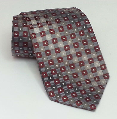 "Ezio Italy Men Dress Neck Silk Tie Red Silver Print 3.75"" wide 63"" Long"