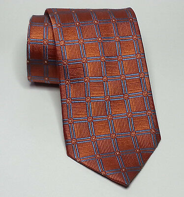 JoS A Bank Men Dress Neck Silk Tie  Orange BLue Geometric Print