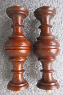 "2 ANTIQUE VICTORIAN SOLID OAK COLUMNS SPINDLES SUPPORTS POSTS  6 1/2"" high"
