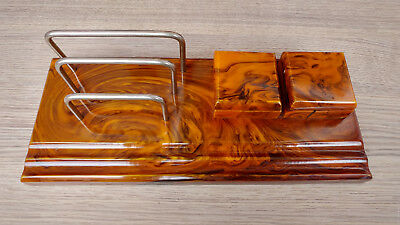 Antique VERY RARE Art Deco Bakelite Double Ink Well 1711 grams-Simichrome tested
