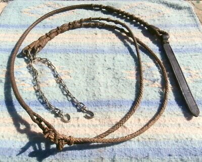 Vintage Cowboy Rawhide Braided Romal Reins with Chains