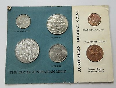 Royal Australian Mint First Year Issue 1966 Uncirculated Decimal Coin Poly-Card