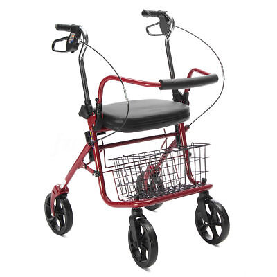 Drive Medical 4 Wheels Folding Rollator Walker With Padded Seat Back Support