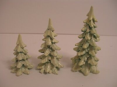 Dept 56 Village Wintergreen PInes lot of 3  Heritage Village trees  retired