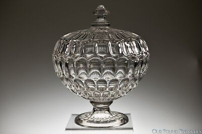 ca. 3Q 1800s ARGUS Bakewell, Pears & Co FLINT CRYSTAL Covered Compote