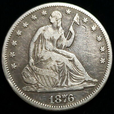 1876 CC Seated Liberty Half Dollar .50c Cent .900 Silver Collector Coin ;SLH7607