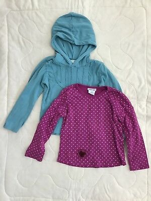 2pc Naartjie Blue Hooded Top Purple Polka Dots Long Sleeve Shirt Girls Size 5 M