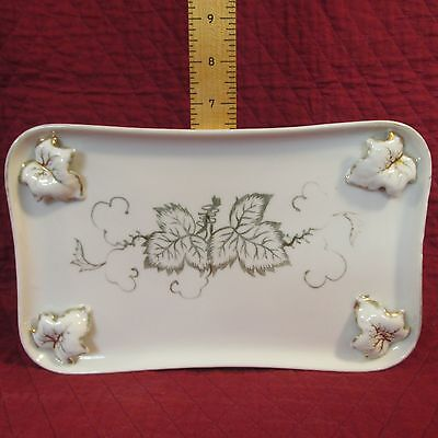 L & M Bond Ware Porcelain Dresser Tray Gold w/ Applied Leaves Lipper & Mann