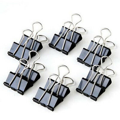 12Pcs Metal Binder Clips File Paper Clip Photo Stationary Office Supplies Black