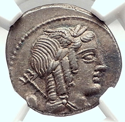 Roman Republic Apollo Vejovis 85BC Rome Authentic Ancient Silver Coin NGC i73130