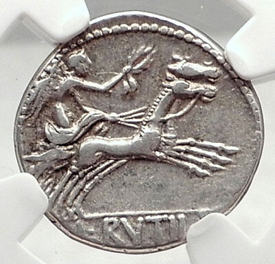 Roman Republic Genuine Ancient 77BC Silver Rome Coin VICTORY CHARIOT NGC i73131