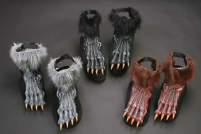 Werewolf Shoe Foot Covers Hairy Furry Adult for Halloween Costume Feet Accessory