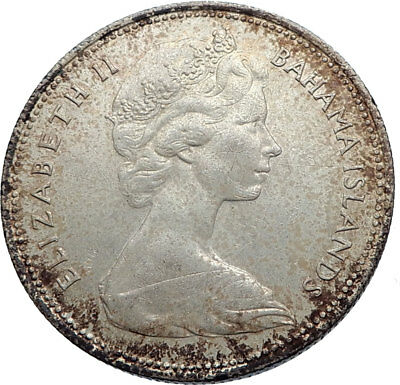 1966 BAHAMAS Silver Coin 50 Cents UK Queen Elizabeth II and Marlin FISH i71957