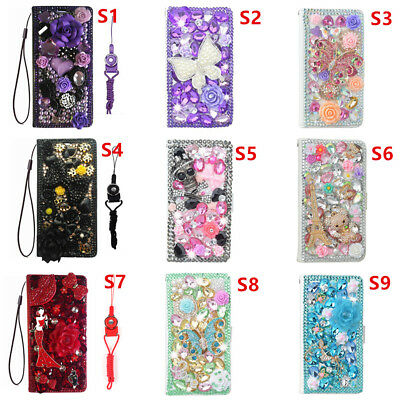 Luxury Leather Flip Bling Diamond Wallet Case Girls' Phone Cover with strap UK1