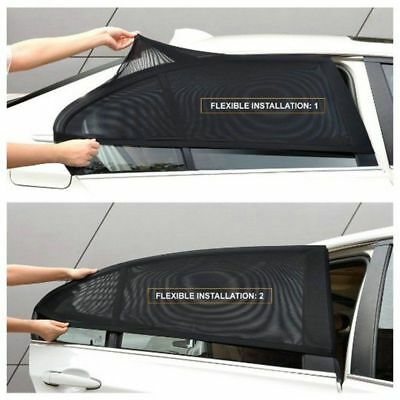 2X Car UV Protection Sun Shades Curtains With Track Kit For Rear Side Window Kj
