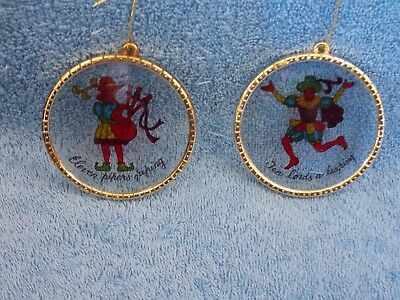 Set of 2 Vintage Ten Lords A Leaping & Eleven Pipers Piping Christmas Ornaments