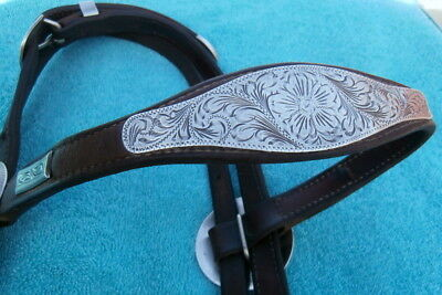 Large Engraved Big Sterling Silver Conchos Vintage Horse Show Headstall