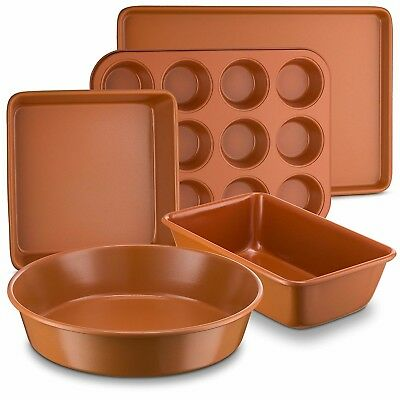 5PC Ceramic Coated Copper Bakeware Set Round Square Rectangle Loaf Muffin Pans