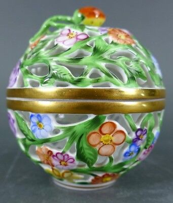 Signed Herend Hungary Hand Painted Openwork Lidded Bowl Box Porcelain