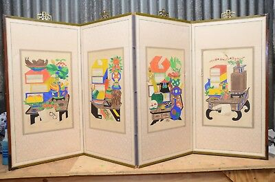 Vintage Japanese Chinese 4 Panel Folding Screen Byobu Painted 60x30 colorful WOW