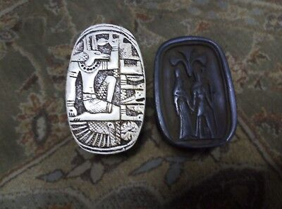 ANCIENT EGYPTIAN ANTIQUE ANUBIS and Hours Scarab Hieroglyphs Beetle Stone Bc