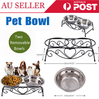Double Elevated Raised Pet Dog Cat Feeder Bowl Stainless Steel Food Water Stand
