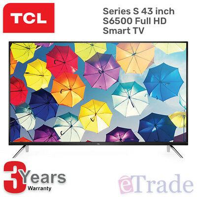 "TCL 43"" Inch HD LED Smart TV Netflix Youtube WiFi 43S6500FS + 3 Year Warranty"