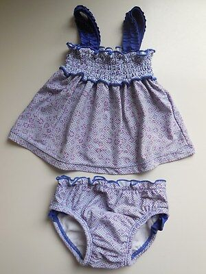 Baby Girl Two Pce Bathers Swimwear Suit Nappy Pants Size 0 Fits 6-12M*very Clean