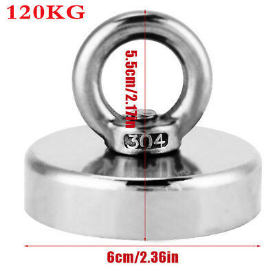 120kg Pull Fishing Treasure Hunting Neodymium Strong Recovery Retrieval Magnet