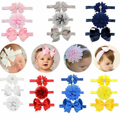 3PCS/SET Newborn Baby Girls Flower Headband Infant Toddler Kids Knot Hair Band
