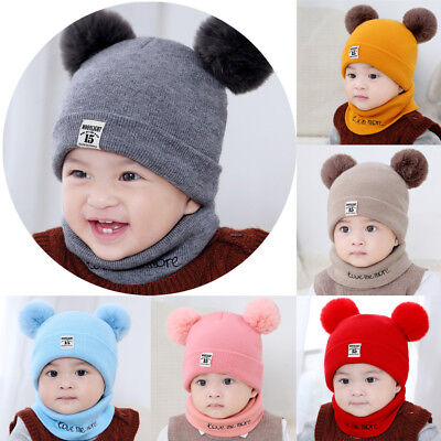 US Newborn Child Kids Baby Boy Girl Hat Winter Warm Knit Bobble Beanie Cap Scarf
