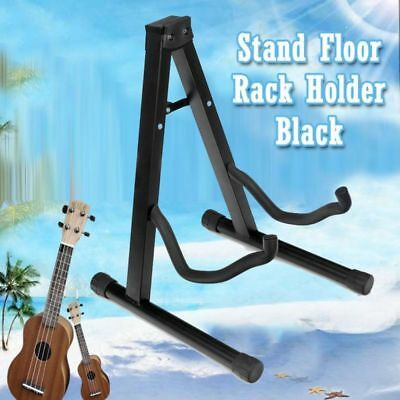 Classical Folding Electric Acoustic Bass Guitar Stand Floor Rack Holder Black OZ