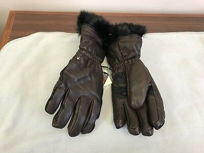 New Women's Primaloft BROWN Leather GLOVES - WARMER, DRIER, SOFTER Size M or L