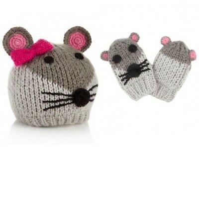 Baby Girls New Ex Monsoon Mouse Hat & Mittens Set 0-12m ( 0-3 3-6 6-9 9-12 6-12)