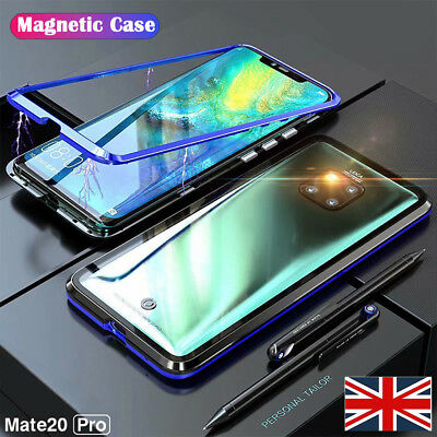 Luxury Magnetic Adsorption Metal Case For Huawei Mate 20Pro Tempered Glass Cover